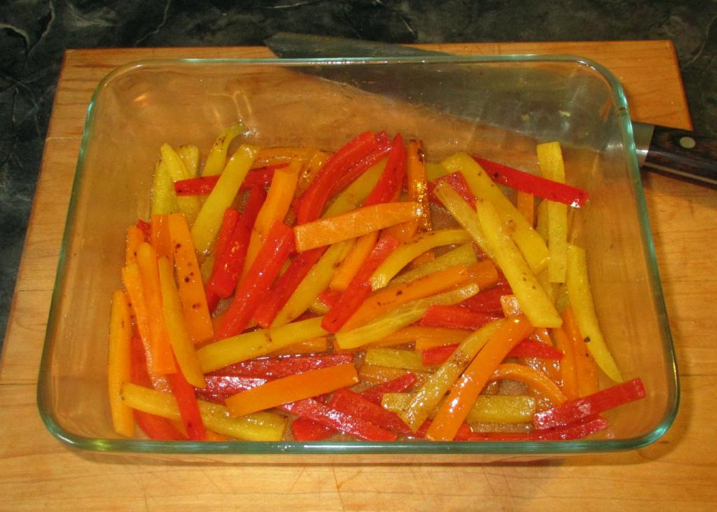 Macerating the Peppers with Wine and Salt