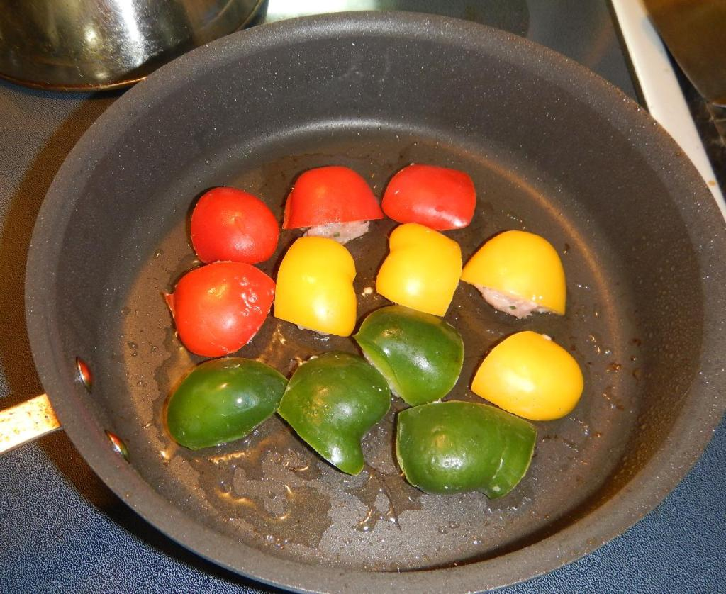 Cooking the Stuffed Pepper Pieces
