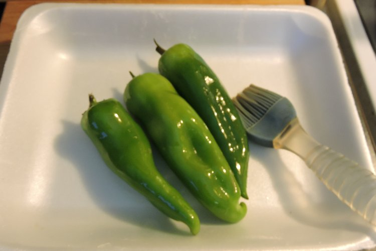 Anaheim Peppers Brushed with Oil
