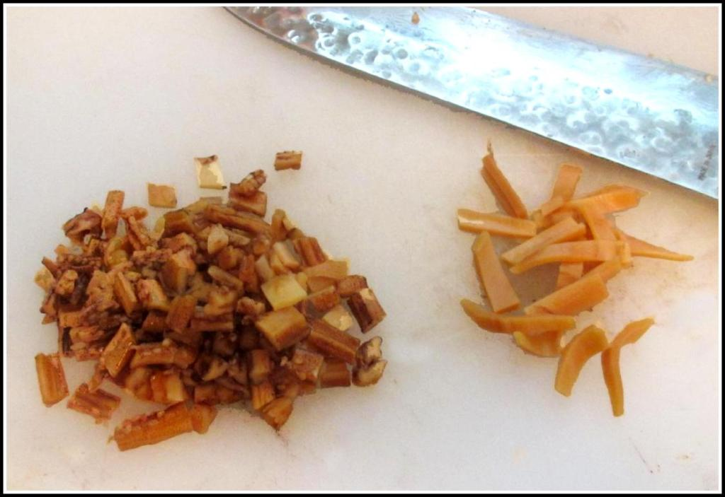 Chopping the reconstituted Dried Squid