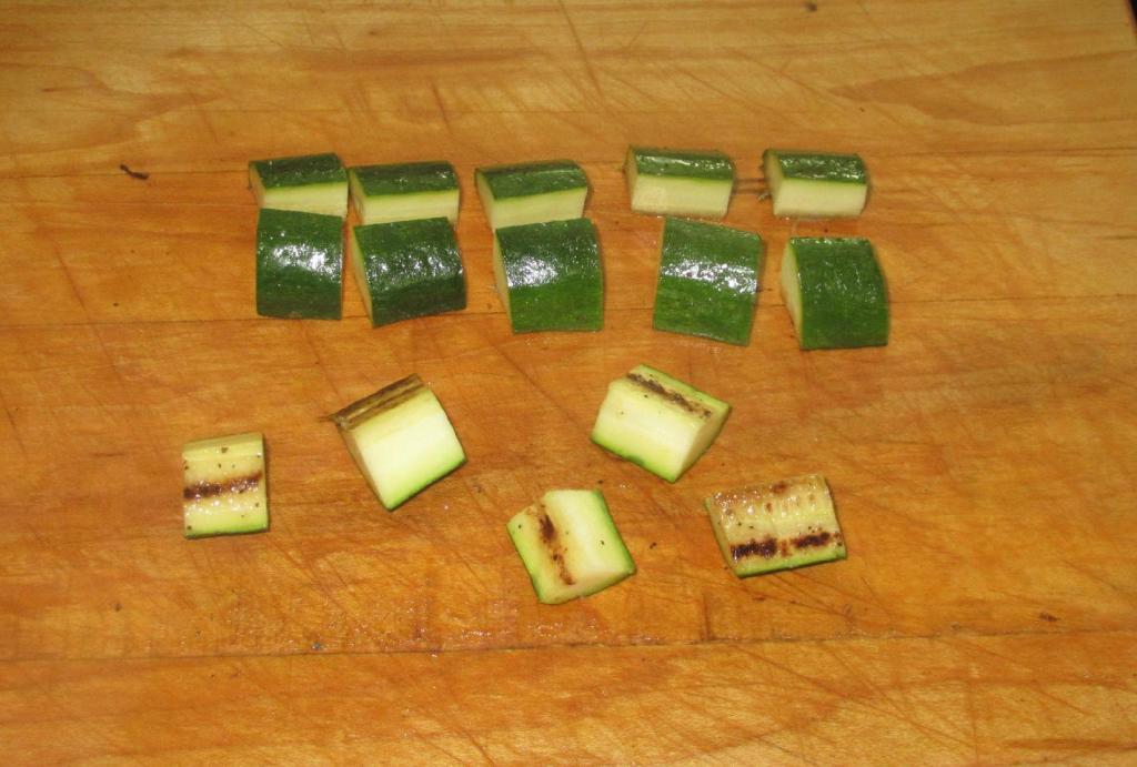 Cutting the grilled Zucchini