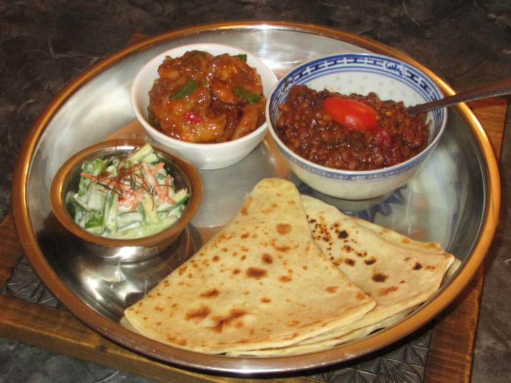 A simple meal with Parathas
