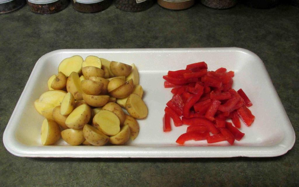 Cutting the Potatoes and Peppers