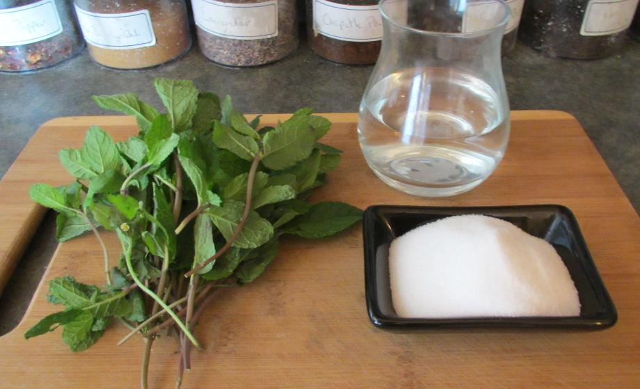 The Basic Ingredients for Mint Sauce