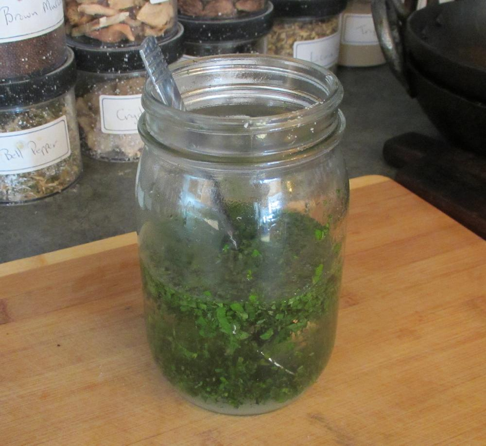 Making Mint Sauce