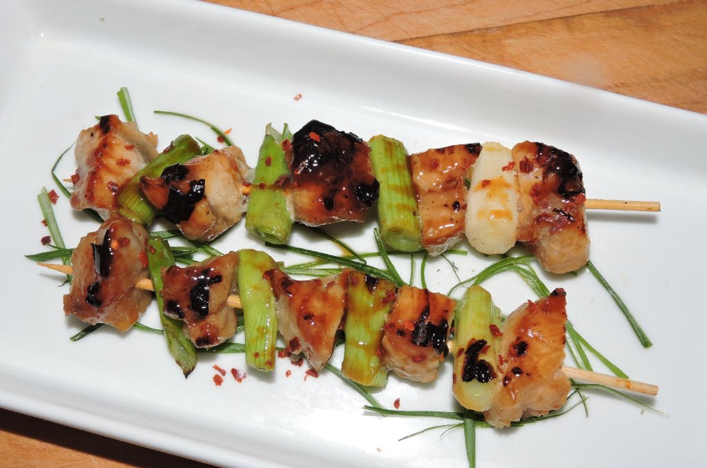 Skewers of Alligator Meat cooked Yakitori style