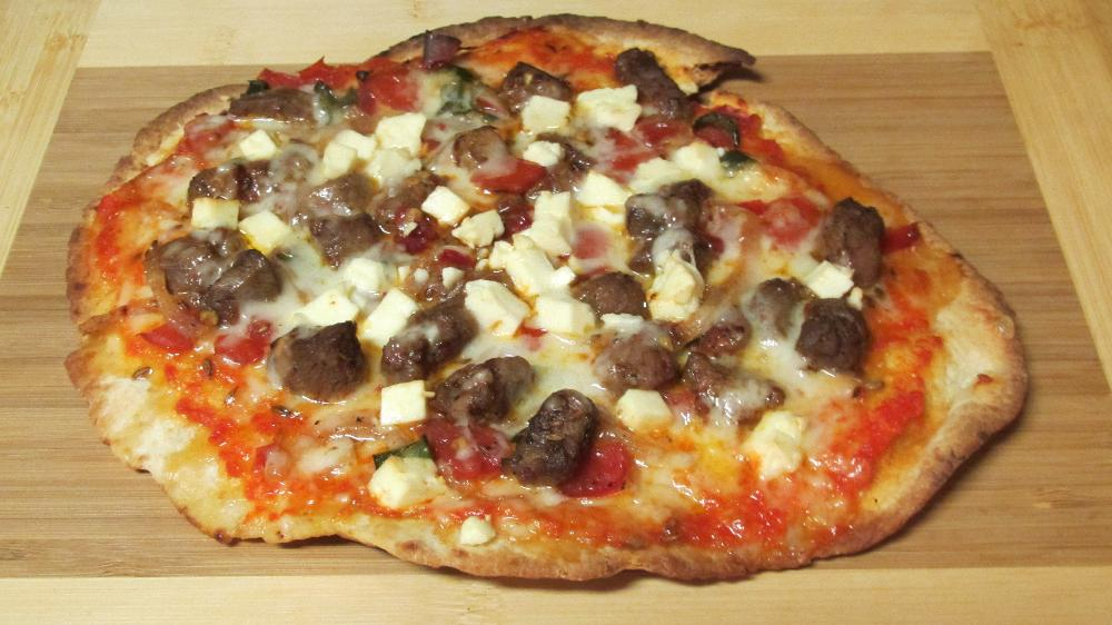 Naan Pizza with Lamb and Feta Cheese