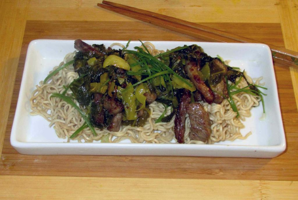 Beef with Pickled Mustard Greens over Ramen