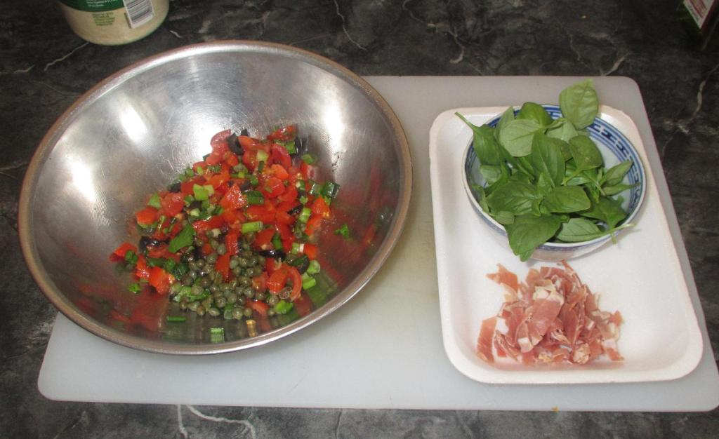 The prepared sauce ingredients for Summer Sauce Pasta
