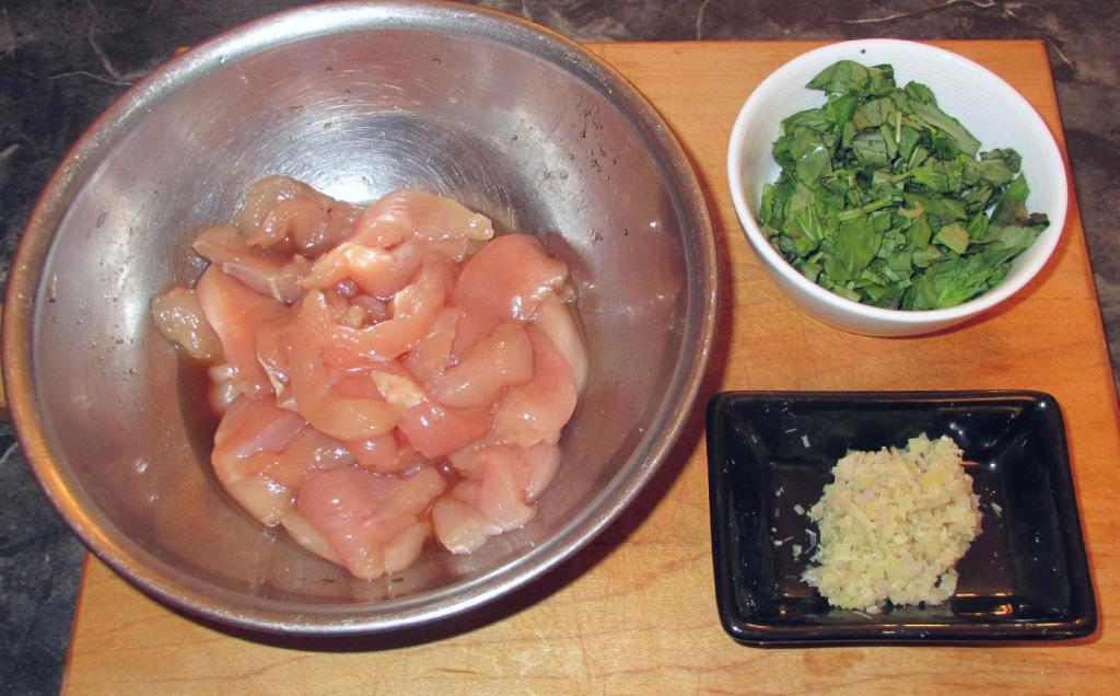 Chicken, Basil and Lemongrass being prepared