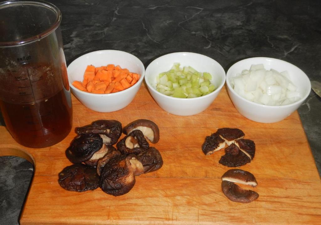 Preparing Black Mushrooms and Mirepoix Ingredients