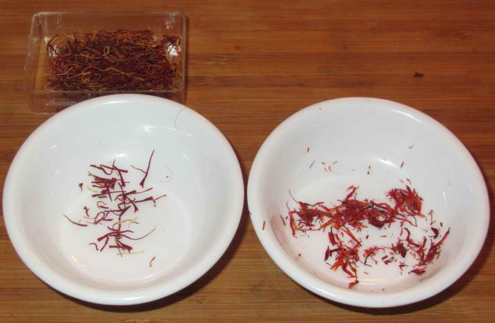Saffron and Safflower threads.
