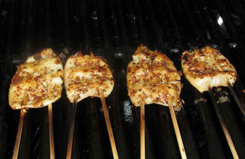 Skewers of Squid on the Grill