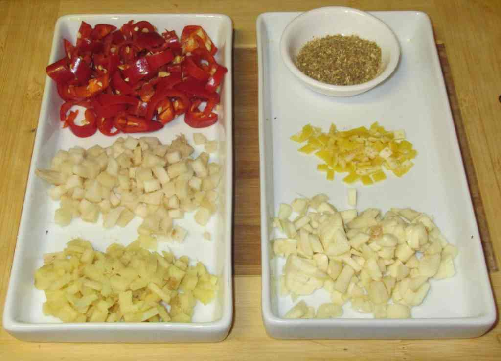Prepared Aromatic Ingredients for a Galingale Curry Paste