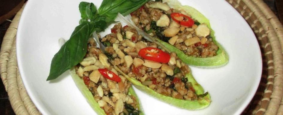 Larb Stuffed Endive Boats