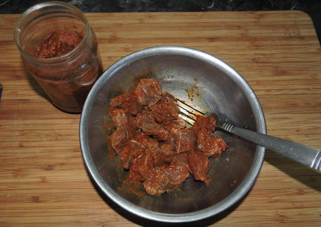 Marinating Beef with Madras Curry Paste