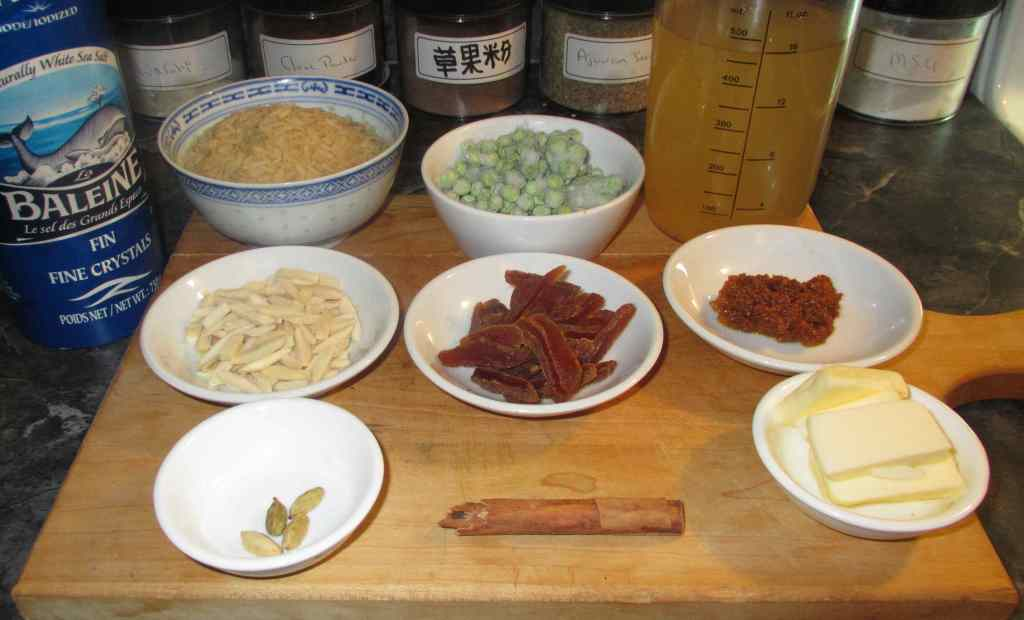 The Ingredients for Spiced Apricot Almond Rice