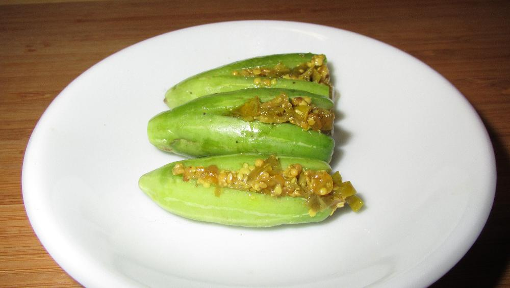 Tindora stuffed with Chili Pickle