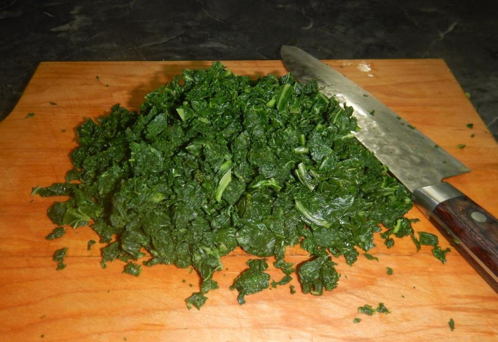 Greens chopped after being blanched.