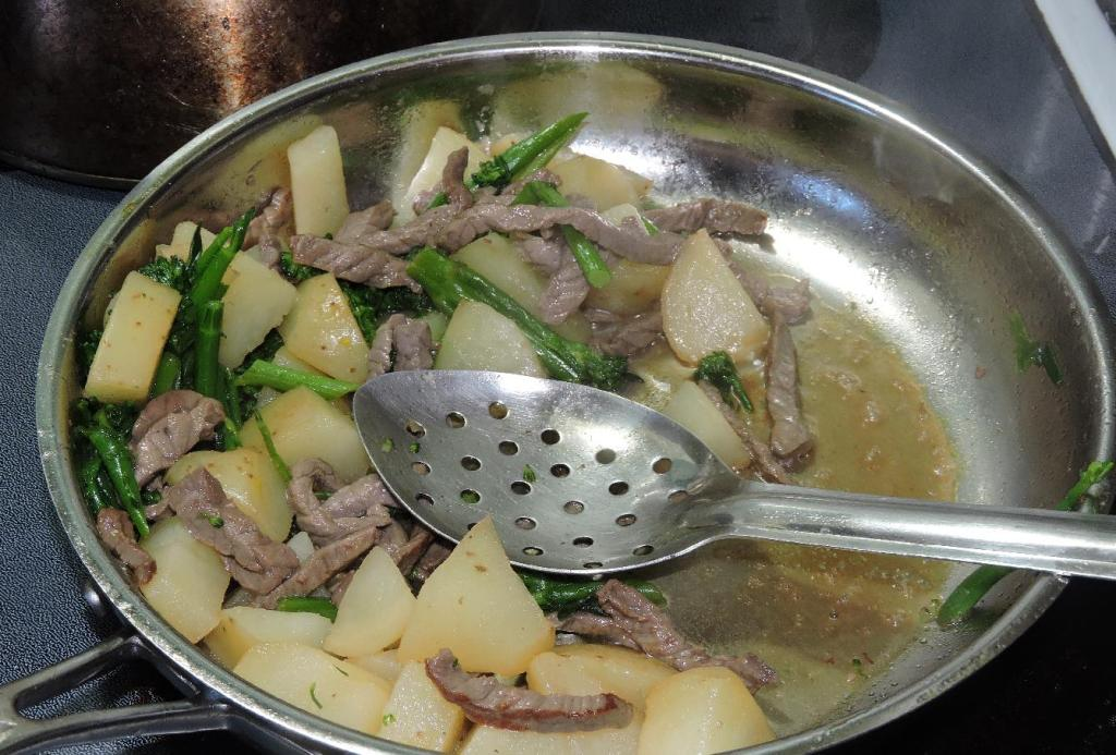 Beef and Vegetables being braised with Dashi