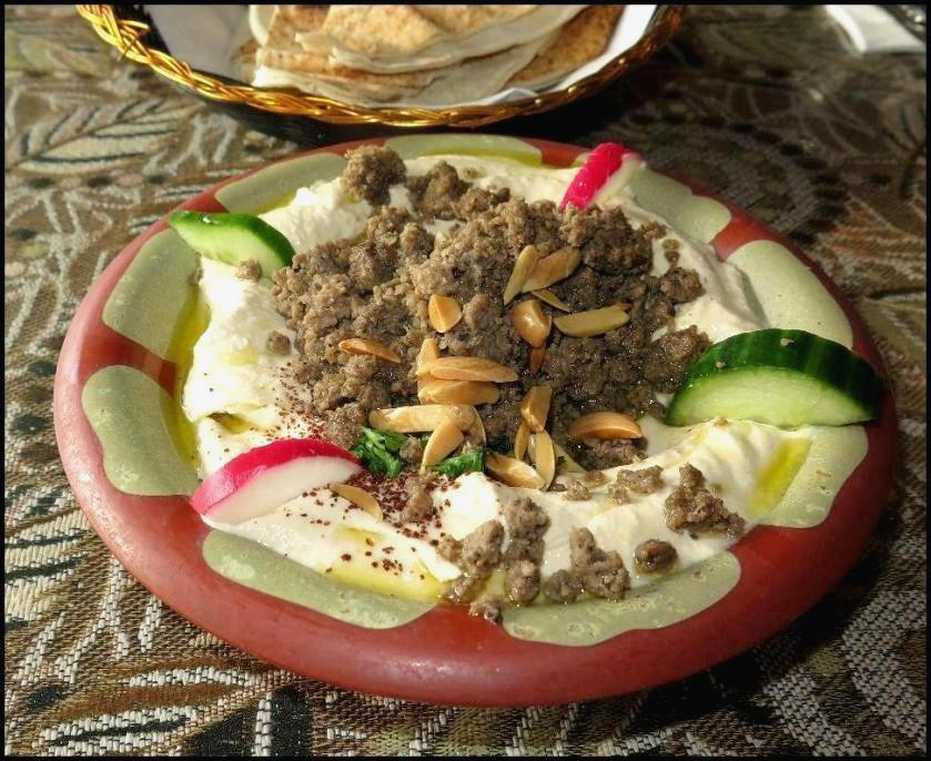 Hummus with Lamb at the Chef Abod Restaurant in Halifax