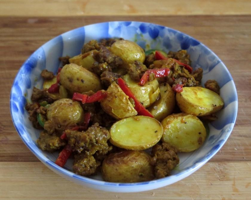 A dry Curry of Ostrich and Potatoes