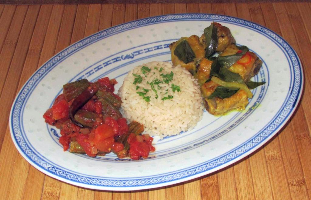 Ribs Steamed with Curry Leaves served with Rice and Okra Curry