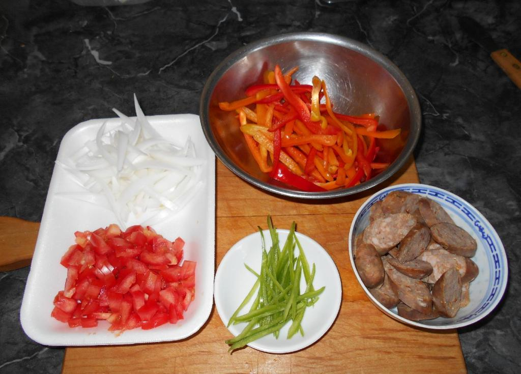 The Ingredients for Pasta with Sausage and Peppers