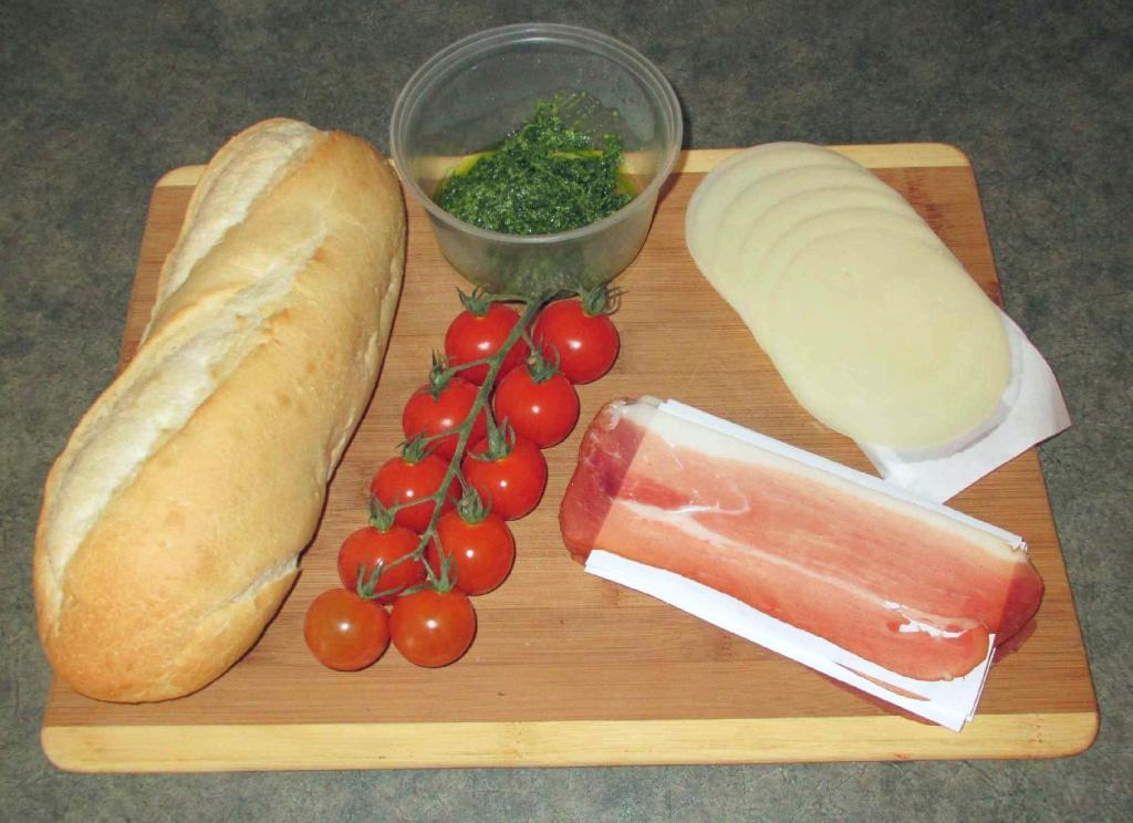 The Ingredients for Prosciutto and Pesto Crostini