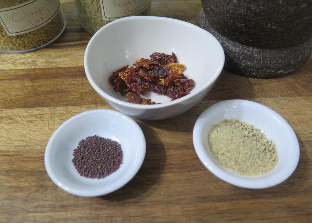 The Spice ingredients for Bengali-style Chili-Mint Chayote