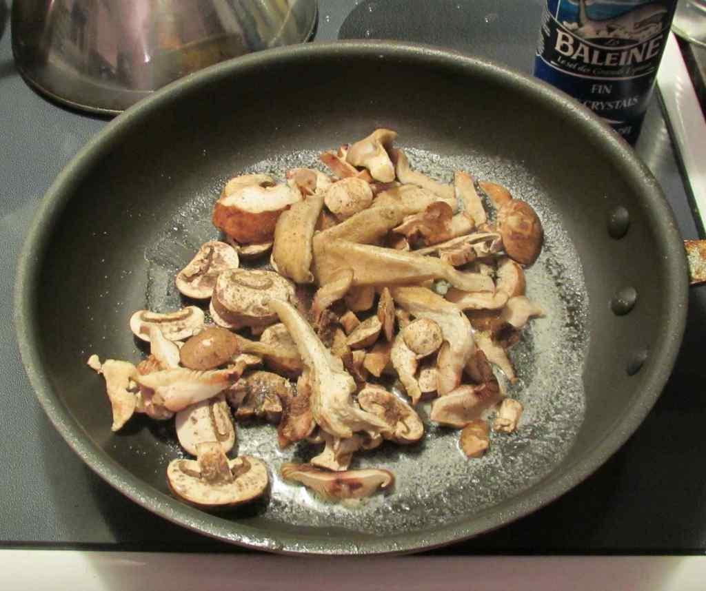 Pan-frying Mixed Mushrooms