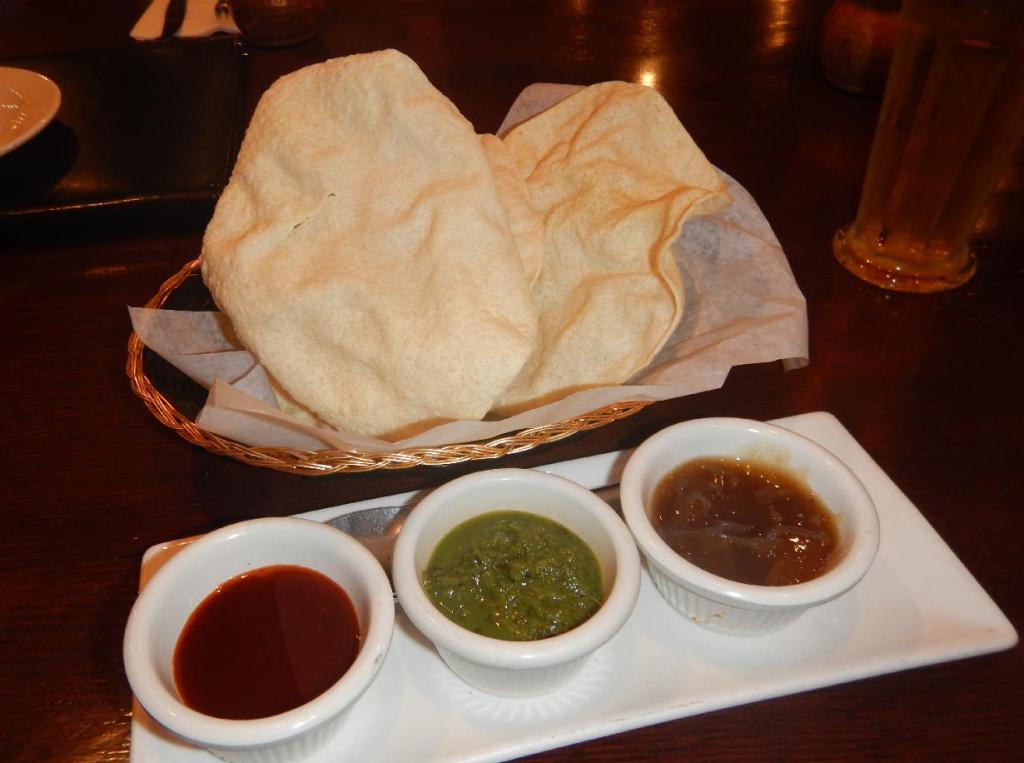 Complimentary Pappadum at the Haweli Indian Restaurant in Edmonton