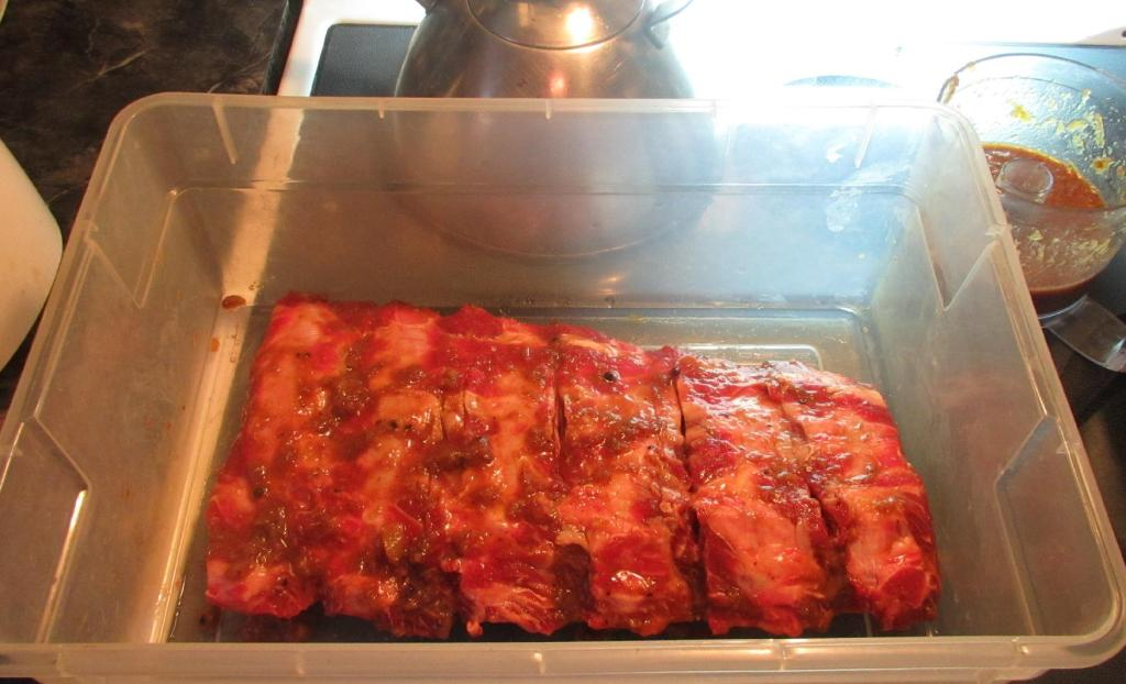 Marinating the Ribs for Pineapple Barbecued Beef Ribs