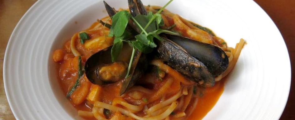 Seafood Linguine at Play, Food & Wine in Ottawa
