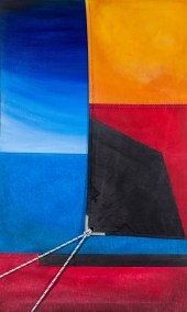 """""""Red Tide"""" 28"""" x 48"""" Ink, Dye, Acrylic on Canvas and Sailcloth"""