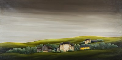Michele Rose Evening At The Farm 30 x 60 Acrylic on Canvas