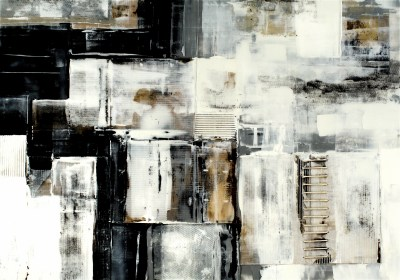 "Industrial White 60"" x 42"" Mixed Media on Panel with Resin"