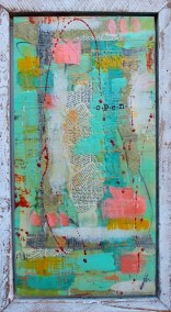 """Open"" 36"" X 18"" Encaustic and Mixed Media Framed"