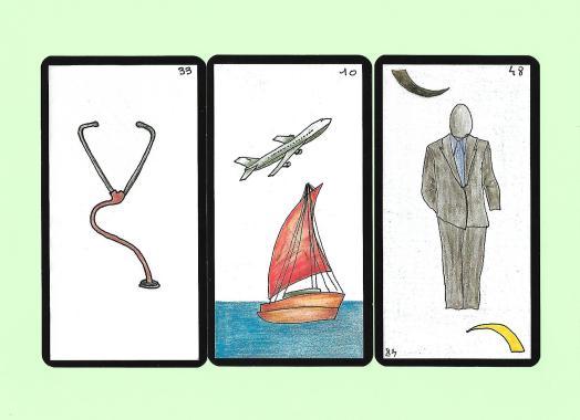 Trois cartes tirées de l'oracle Gé