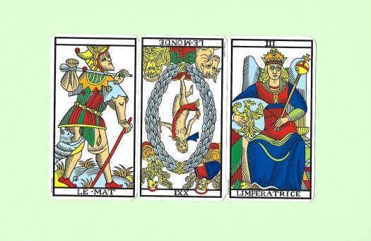 3 arcanes majeures du Tarot de Marseille-Camoin