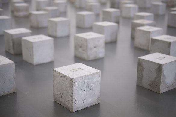 Collection of concrete cubes