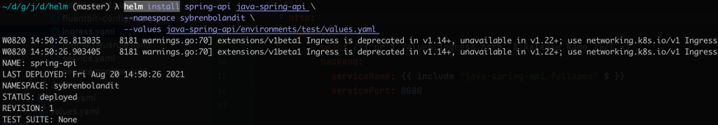 helm install spring api command with output 1024x179 - TESTCONTAINERS