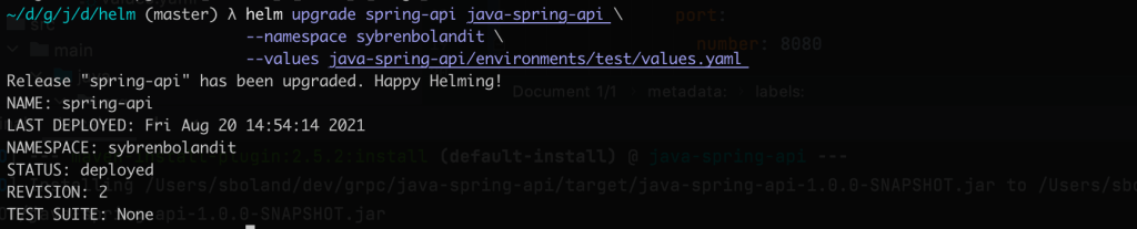 helm upgrade spring api command with output 1024x207 - TESTCONTAINERS