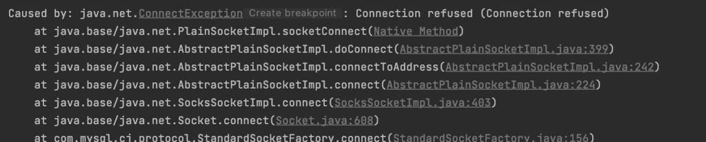 stacktrace connection refused 1024x207 - TESTCONTAINERS