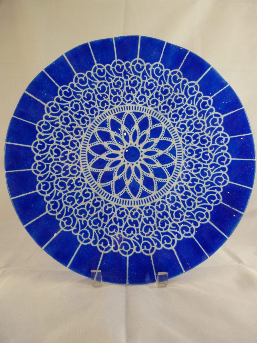 Cobalt Embassy Cake Plate