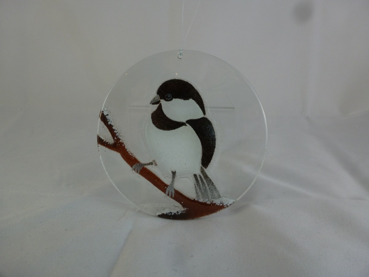 Chickadee Small Suncatcher (with snow)