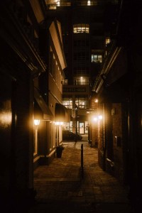 Burlington Village Square - Alley at Night