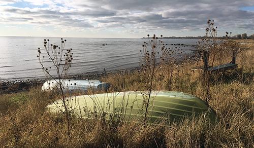 Bortom båtarna i horisonten sticker Sveriges sydligaste udde ut. Det var här jag bestämde mig för att ge upp senast (när jag försökte springa Ystad - Trelleborg). Kände mig pigg men märkte att tempot gått ner en aning.