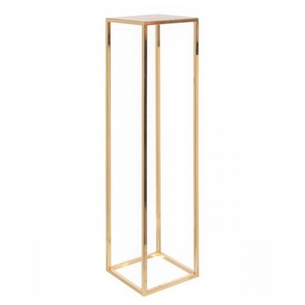 Mirror Gold Frame Cube Table Stand