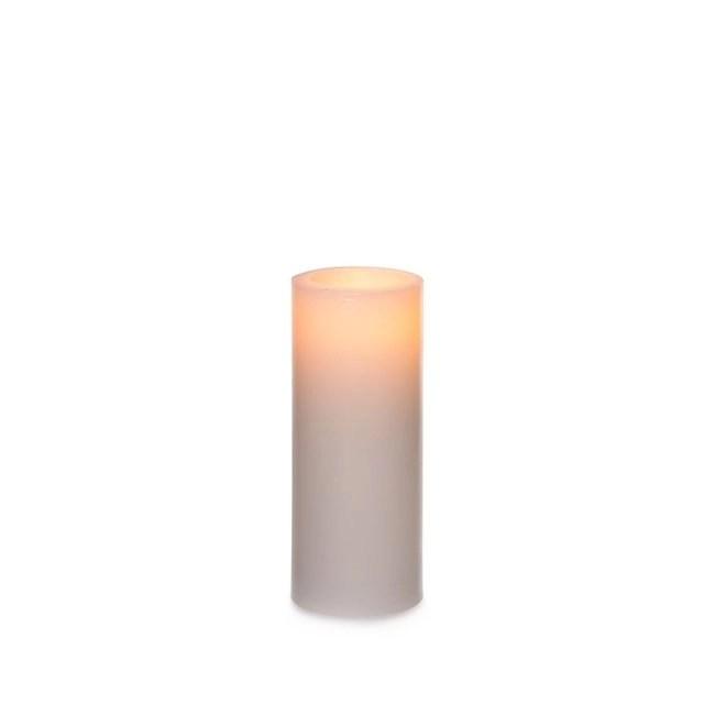Wax LED Pillar Candle Round White (12.5cmH)